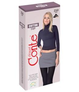 Теплые колготки с низкой талией Conte COTTON Top 250 den